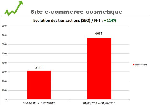 Evolution transactions site e-commerce cosmetique